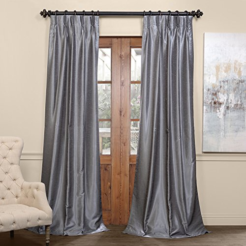 (PDCH-KBS7BO-84-FP Pleated Blackout Vintage Textured Faux Dupioni Silk Curtain, 25 x 84