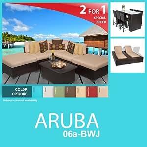 Aruba 14 Piece Outdoor Wicker Patio Furniture Package ARUBA-06a-BWJ