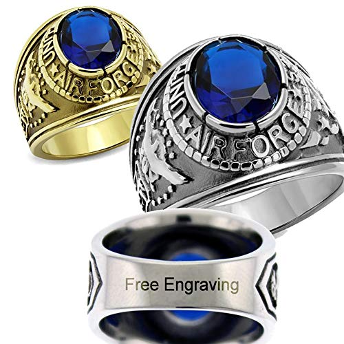 YVO Customizable Air Force Ring - Free Engraving Included - Polished Stainless Steel or Gold Plating (Us Air Force Ring)