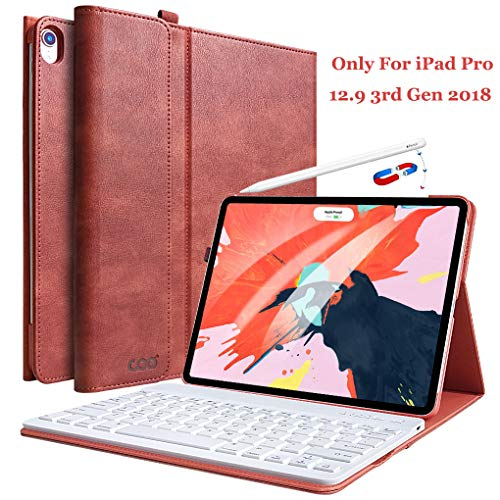 iPad Pro Keyboard Case for iPad 12.9 2018 Release 3rd Gen - COO Wireless Bluetooth Keyboard - Support Apple Pencil Charging - Magnetic Cover with Apple Sleep/Wake - Not for 2017/2015 Released 12.9