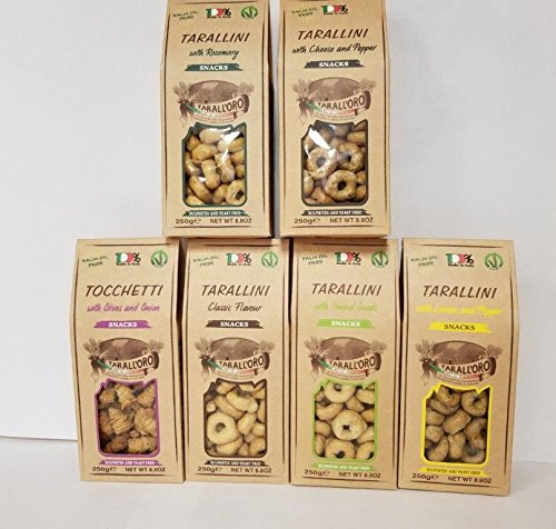 Tarallini Mixed Pack of 6 ( Classic, Fennel Seeds, Calzone, Lemon and pepper, Rosemary, Cheese and Pepper) by Tarall'Oro