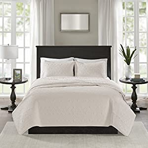 Madison Park Quebec Coverlet Quilted Cotton Fill Mini Set, King/Cal King, Ivory