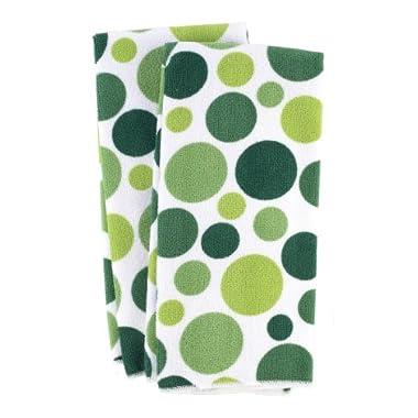 Ritz Royale Collection Microfiber Polka Dot Print Towel Set, Cactus, 2-Piece