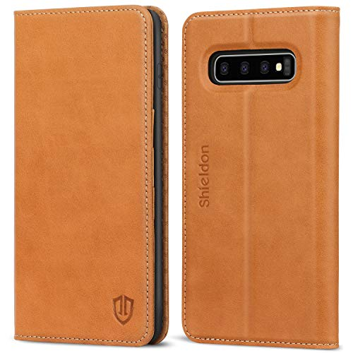 SHIELDON Galaxy S10 Plus Case, Galaxy S10+ Plus Wallet Case, Genuine Leather Folio S10Plus Magnetic Cover RFID Blocking Stand Card Slots Compatible with Galaxy S10 Plus (6.4 Inch 2019) - Brown