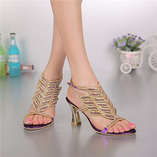 Summer Glitter Heels Rhinestone Women's Evening Shoes Doris Wedding Dress Purple Slippers Fashion Sandals qazXBY0w