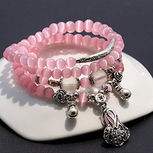 - Fashion 5Mm Natural Pink Opal Stone Beads Bracelet Bangle | Charm Jewelry Cabbage Purse Pendant Bracelets 70Cm for Women