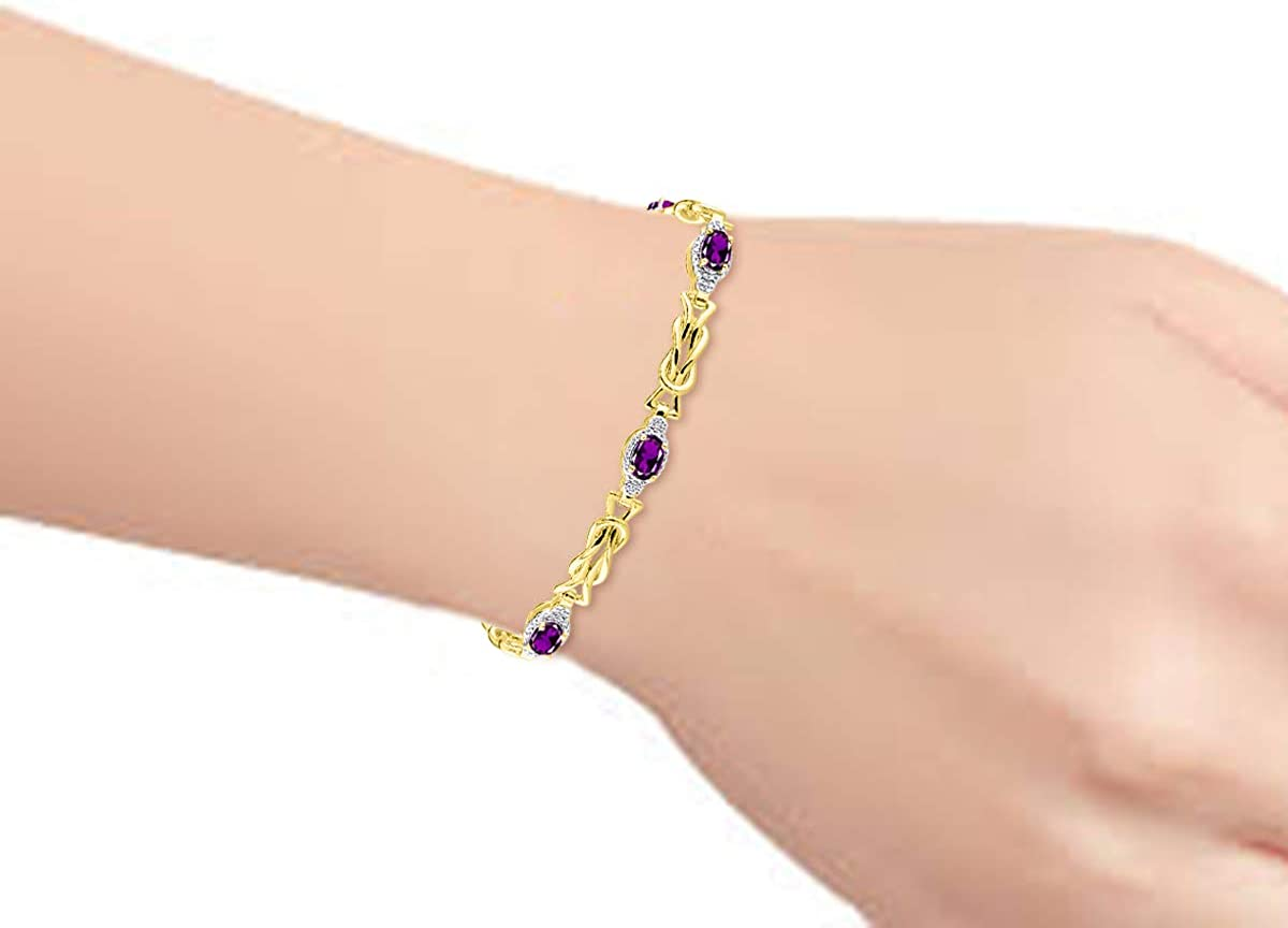 Adjustable to Fit 7-8 Wrist RYLOS Love Knot Tennis Bracelet with Gemstones /& Genuine Diamonds in Sterling Silver .925 or 14K yellow Gold Plated Silver 5 Gorgeous 6X4MM Color Stones