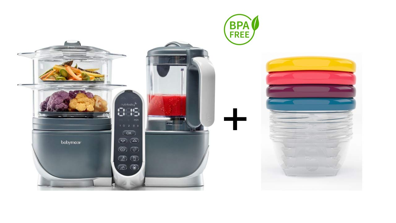 Duo Meal Station 6 in 1 Food Processor + Set of 4 Leak-Proof Bowls (4oz) by Babymoov