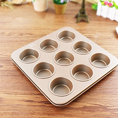 Fishonly Carbon Steel Nonstick 9 Cups Muffin Pan Cupcake Tart Mold Tray Cookie Bake Pan (Round) by fishonly (Image #6)