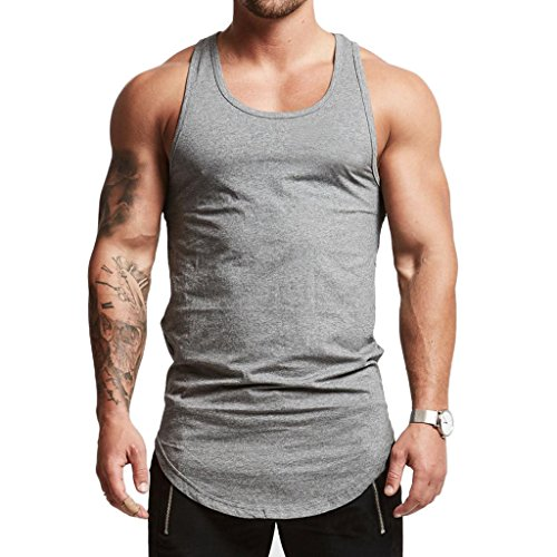 Magiftbox Mens Essential Longline Workout Stringer Cotton Tank Tops Gym Shirts Sports Vest T04_Light-Gray_US-XL