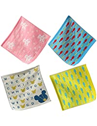 October Elf Unisex Baby Kids Cotton Gauze Cute Cartoon Handkerchief Bath Wash Towel (13.8*13.8'', E/4pcs)