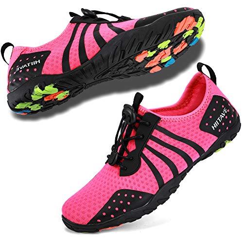 hiitave Womens Aqua Beach Water Shoes Quick Dry Barefoot Swim Socks for Surf Pool River Walking Diving Water Sports Fushia W9.5/M8