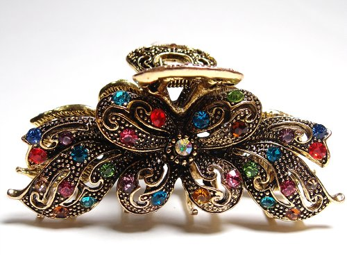 New Fashion Vintage Multi color Swarovski Crystal Butterfly Hair Claw Clip 89