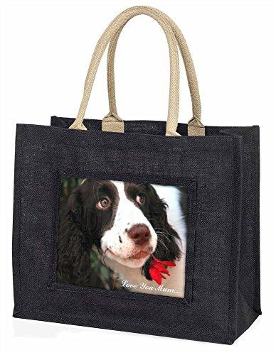 Advanta ad-ss74lymblb Springer Spaniel Dog Love You Mum Große Einkaufstasche/Weihnachtsgeschenk, Jute, schwarz, 42x 34,5x 2cm