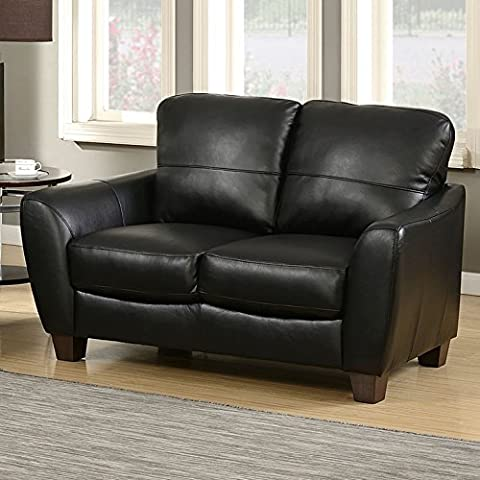 AC Pacific Sawyer Collection Contemporary Upholstered Loveseat with Wooden Tapered Block Legs, - Over Dual Reclining Loveseat