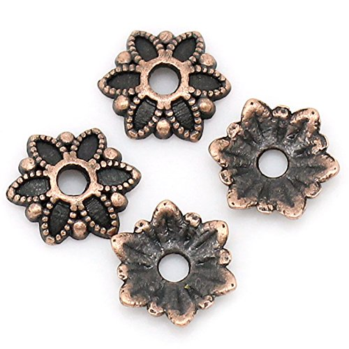 - Antique Copper Flower Filigree Loose Spacer Beads End Caps Crafts Finding Jewelry Making DIY