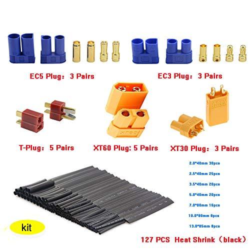 - Ceetech 29pcs T Plug XT60 XT30 EC3 EC5 Male Female Adapter Connector 127pcs Heat Shrink Tubing Kit RC ESC Lipo Battery Motor
