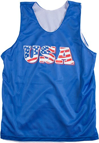 USA Mesh Reversible Tank Top | American Pride, Merica Unisex Patriot Party Tank-Small Royal Blue