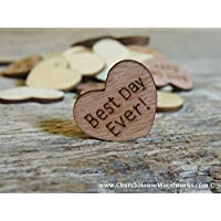Wooden Heart Confetti ~ Best Day Ever! ~ Wood Hearts, Wood Confetti Engraved Love Hearts- Rustic Wedding Decor (100 count)