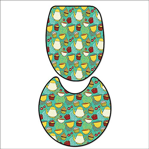 qianhehome Bathroom Non-Slip Rug Set Funky Tea Cup Cake Muffin Cherry Sweet Bakery British Lifestyle Graphic for Seafoam Yellow Red. in Bath Mat Bathroom Rugs 14