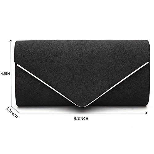 Black Shining GESU Party Purses Womens Clutch and Wedding Handbags For Evening Envelope Bag 6xwA7xq