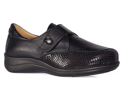 Zapato Mujer ORTOPEDICO Marca CALZAMEDI, Horma Ancho 15, Piel Color Negro, Cierre Velcro, Plantilla Extraible, Poco Peso y Especial juanetes - 0644-39: ...