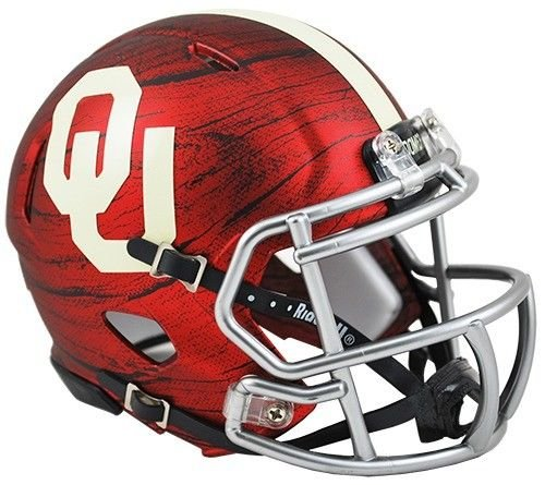 Mini Oklahoma Sooners Helmet (OKLAHOMA SOONERS BRING THE WOOD HYDRO Red Riddell Speed Mini Helmet - New in Riddell Box)