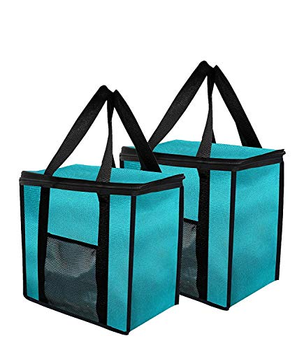 (Insulated Grocery Bag Extra Large Reusable Heavy Duty Nylon with Mesh Pocket for Hot or Cold Food, Double Zipper Closure, Picnic, Grocery Food Delivery, Stands Upright, Collapsible (Pack of 2) (Teal))