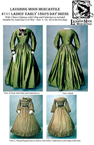- Sewing Pattern Laughing Moon 111 - LM 111: Ladies' Early 1860's Day Dress
