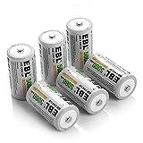 EBL 5000mAh C Size Rechargeable Batteries Industrial Battery C Batteries, 6 Packs Ni-MH C Cells