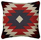 Rizzy Home T05811 Woven Southwestern Patten Decorative Pillow, 18 by 18-Inch, Orange
