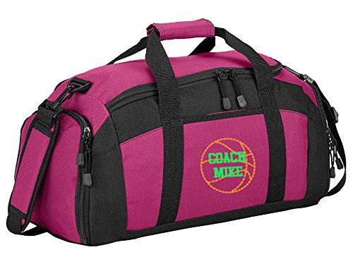 Personalized Basketball Gym Sports Duffel Bag (Tropical Pink)