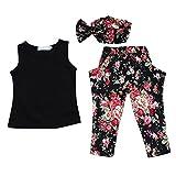 niceEshop(TM) Girl Pure Color Vest Small Broken Flower Hairband Harem Pants Set