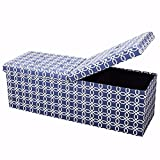 Cheap Otto & Ben 45″ Storage Ottoman Folding Toy Box Chest with Smart Lift Top Mid Century Upholstered Bench Foot Rest, Octagon Blue