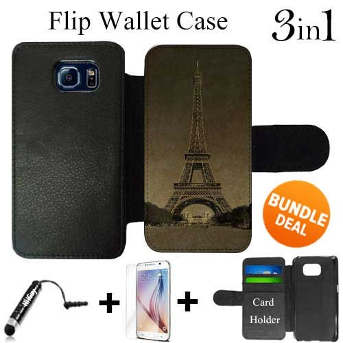 Vintage Paris Eiffle Tower Custom Galaxy S6 Cases Flip Wallet Case,Bundle 3in1 Comes with HD Tempered Glass/Universal Stylus Pen by innosub