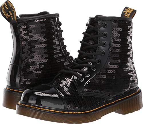 (Dr. Martens Kid's Collection Girl's 1460 Pooch Sequins Boot (Little Kid/Big Kid) Black Sequin/Patent Lamper 3 M)