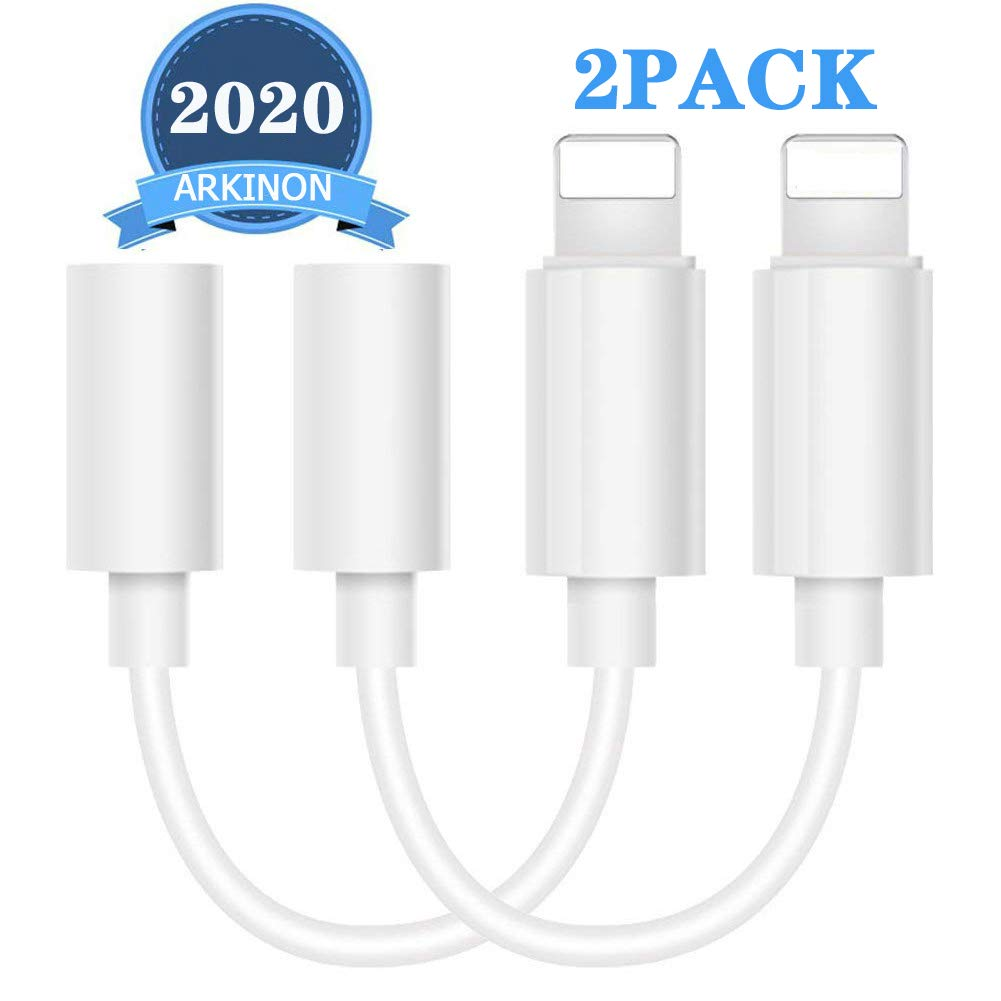 (2Pack)ARKINON Lightning to 3.5mm Headphones/Earbuds Jack Adapter Aux Cable Earphones/Headphone Converter Accessories Compatible with iPhone7/7Plus/8/8Plus/X/XS/Max/XR/11/11Pro/X(iOS 13/Before)-White
