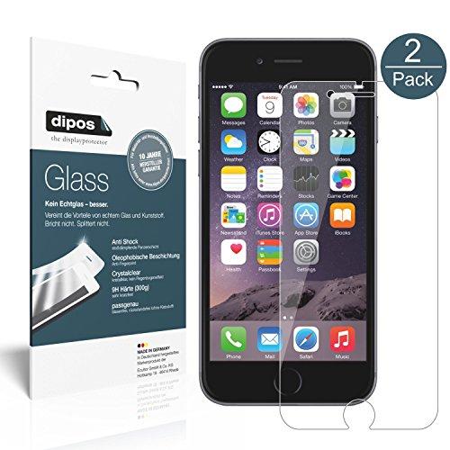 iPhone 6 / 6S Schutzfolie, 2x dipos Glass Panzerglas Folie 9H Kunststoffglas