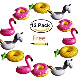Hill & Amber 12 Pack Inflatable Cup Holder Drink Holder Float Pool Coaster for Summer Pool Party and Kids Fun Bath Toys. 3 Flamingo, 3 Pineapple, 3 Unicorn, 3 Donuts, 1 FREE Air Pump.