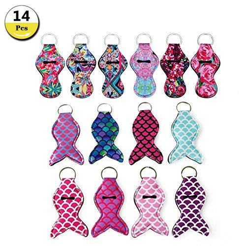 (14 Pieces Chapstick Holder Keychain Mermaid Lipstick Key Chain Holder, Lip Blam Keychain (Mermaid/Multi-14)