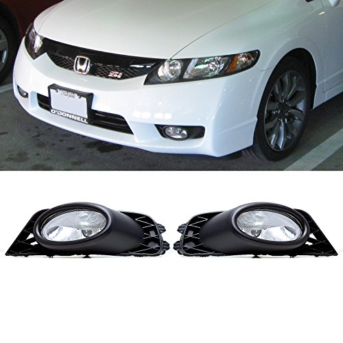 VioGi Fit 09-11 Honda Civic 4-Door Sedan Clear Lens Fog Lights Kit w/ Bulbs+Switch+Wiring Harness+Relay+Bracket+Necessary Mounting Hardware