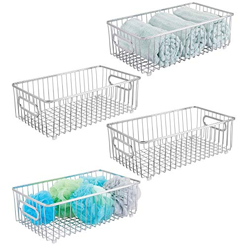 mDesign Metal Bathroom Storage Organizer Basket Bin - Farmhouse Wire Grid Design - for Cabinets, Shelves, Closets, Vanity Countertops, Bedrooms, Under Sinks - Large, 4 Pack - Chrome