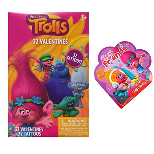 [Dreamworks Trolls Valentines Day 32 Cards Tattoos and Heart Candy for the Teacher] (Treasure Troll Costumes)