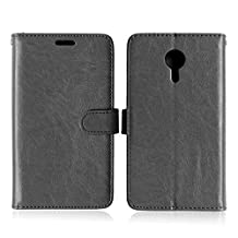 Meizu MX5 High Quality Synthetic PU Leather Case Solid Color Wallet Stand Case Silicone Cover for Meizu MX5 ( Color : Black-Meizu MX5 )