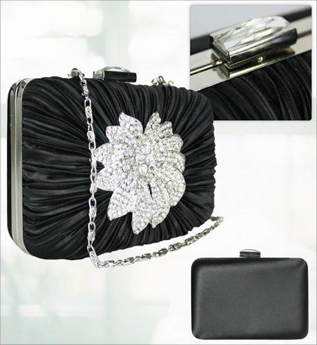 ANNA GRACE - Cartera de mano de Satén para mujer Design 1 - Black