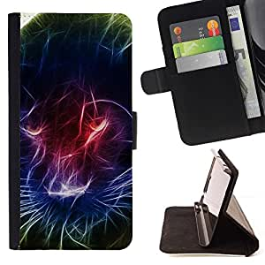 For Sony Xperia Z3 D6603 Black Panther Light Painting Neon Colors Beautiful Print Wallet Leather Case Cover With Credit Card Slots And Stand Function