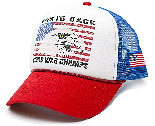 Eagle Back To Back World War Champs Unisex-Adult Trucker Hat -One-Size (Royal/Red) (Back To Back World War Champs Womens)