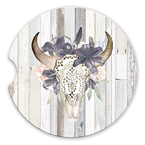 (Western Boho Floral Bull Skull Sandstone Car Coasters Grey Barn Wood Background, Set of 2)