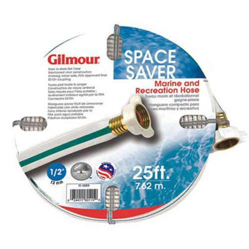 Gilmour 11-12025 11 Series Marine and Recreation Space Saver Flat Hose 1/2-Inch x 25 Feet, White with Aqua Stripe 11012025