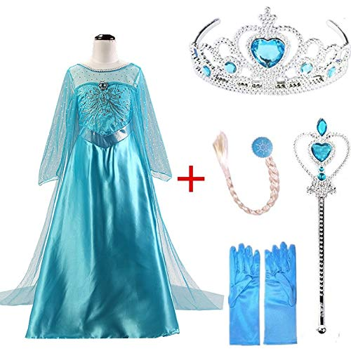 Lalaland12 Girls Dresses - Elsa Dresses for Gilrs Cosplay Princess Anna Elza Snow Queen Elsa Costume Halloween Party Vestidos Fantasia Kids Girls Clothing 1 PCs -